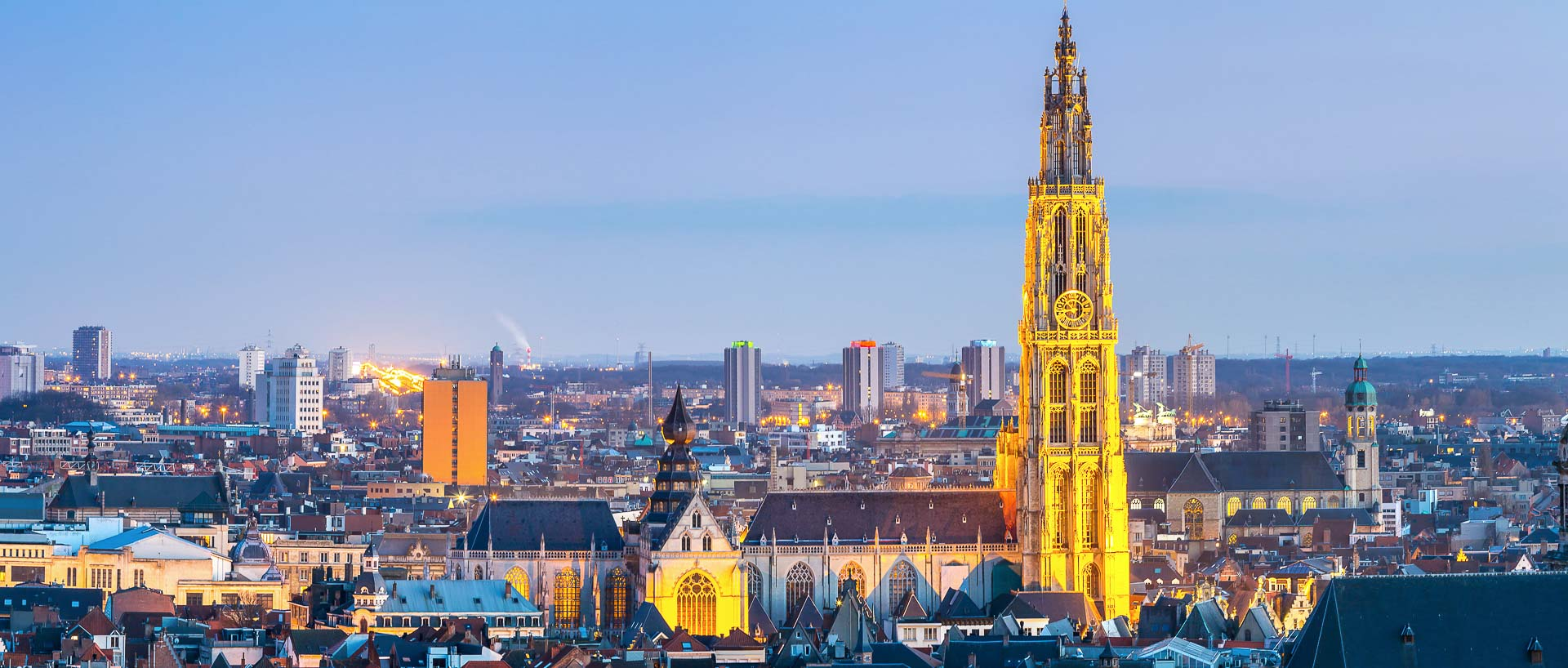 Antwerp Skyline with Cathedral